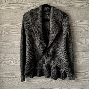 Express Gray Sparkle Open Knit Cardigan Sweater